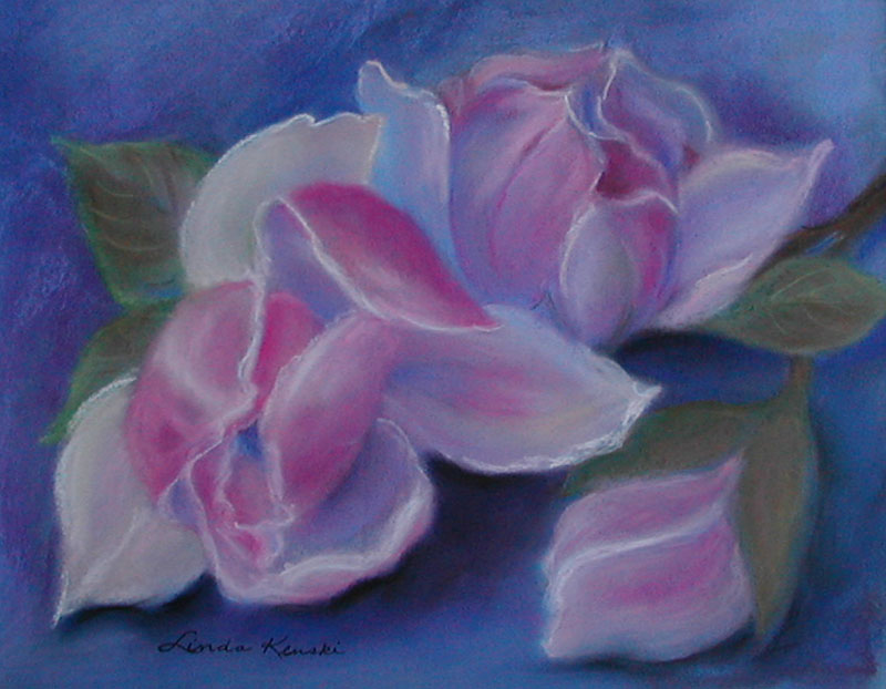 Pastel painting of magnolias
