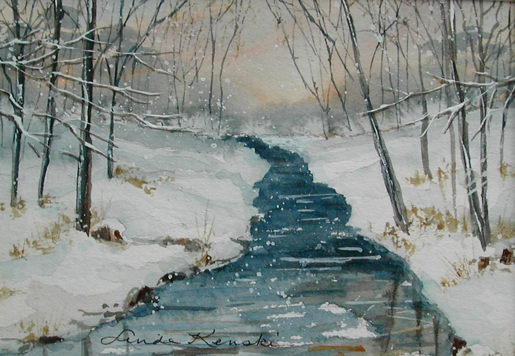 Watercolor Painting of a Winter Scene