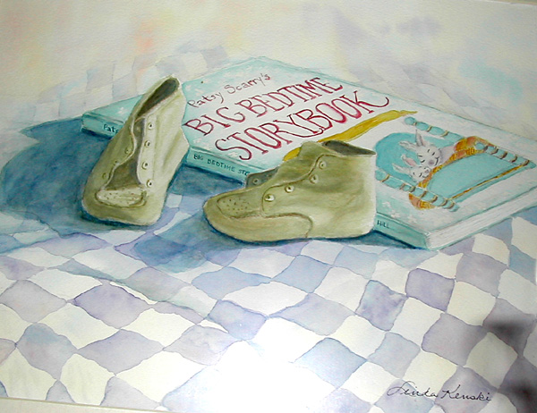 Watercolor Painting of baby shoes and bedtime story book.