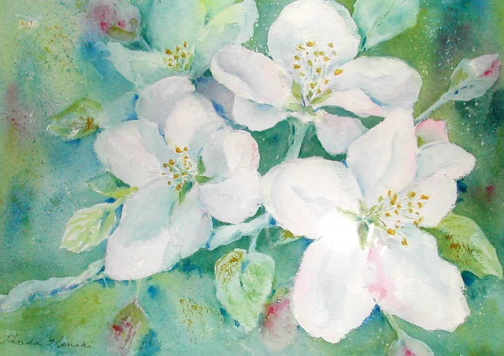 Watercolor paining of Spring Blossoms by Linda Kenski