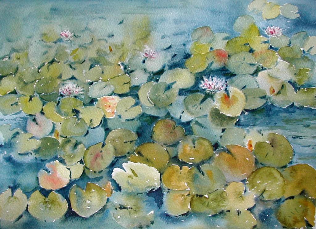 Watercolor Painting of Waterlilies