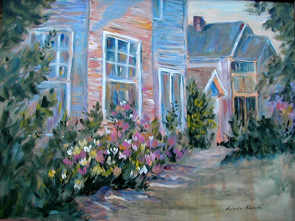 Acrylic painting of houses and flower beds