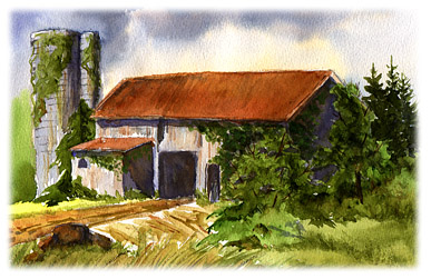 Watercolor painting of old barn on Weymouth Road, Medina OH