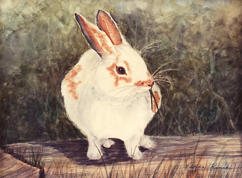Watercolor painting of a bunny sitting on a railroad tie.