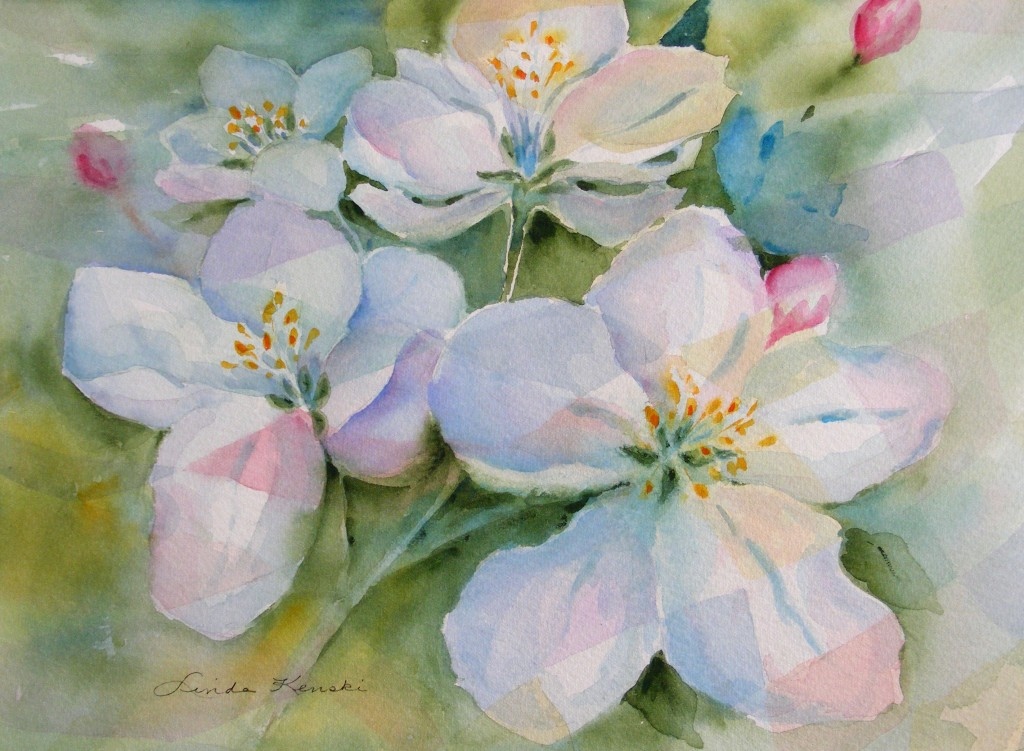 Watercolor Painting of Spring Blossoms