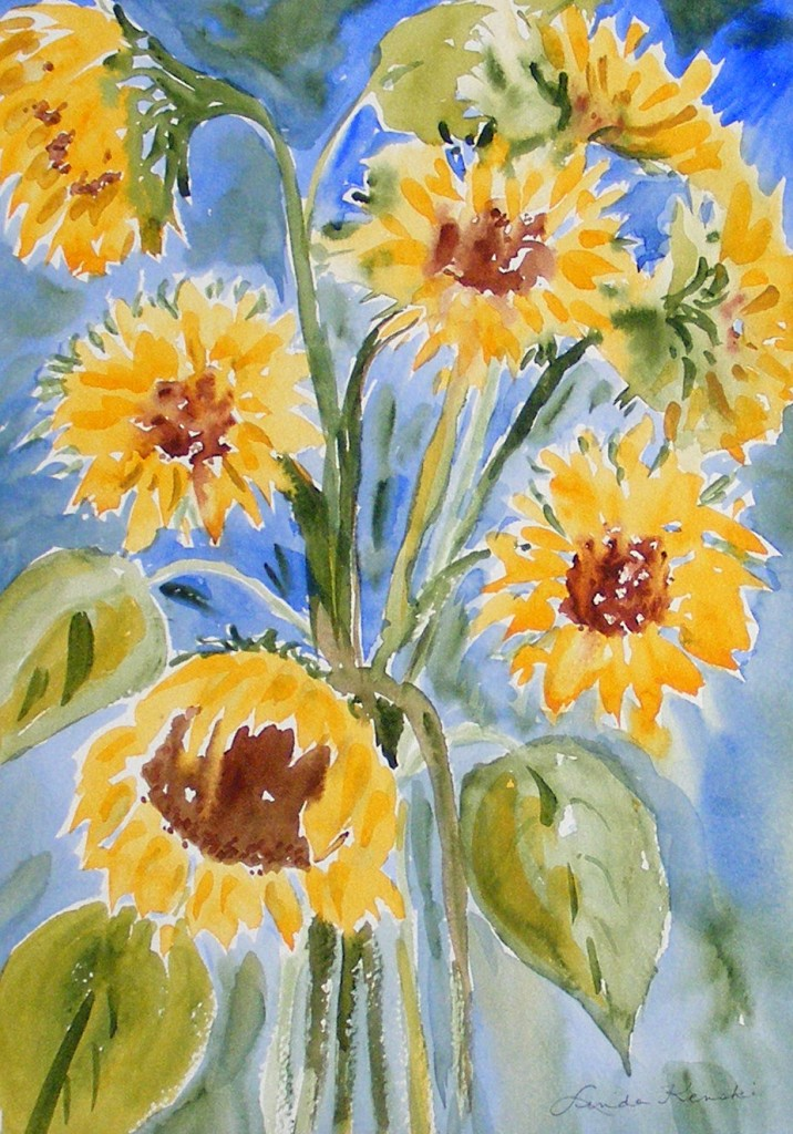 """Sunflowers in the Sunlight, Framed, WC, 16"""" x 20"""", $200"""