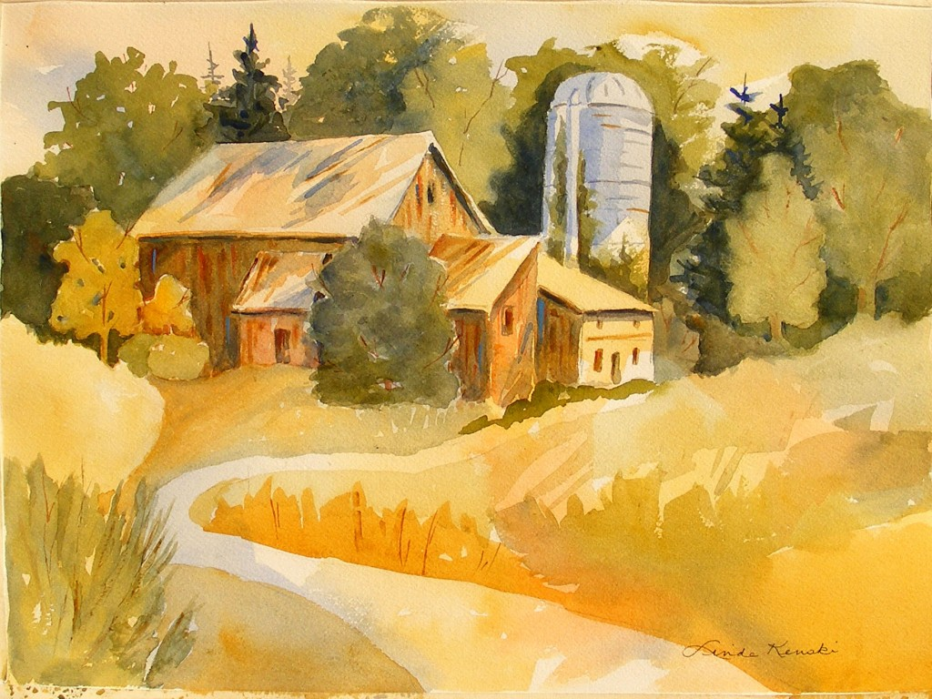 Watercolor painting of the old Wolf Creek barn which was torn down and replaced by a new barn.